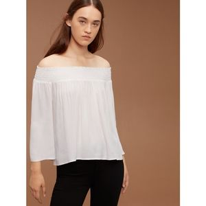 Aritzia Talula Marcilly White Off Shoulder Blouse